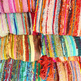 Multicolored ethnic carpets closeup Royalty Free Stock Images