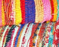 Multicolored ethnic carpets closeup Royalty Free Stock Photos