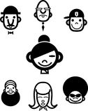 Ethnic cartoonheads. A collection of seven black and white ethnic cartoonheads Royalty Free Stock Images
