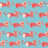 Ethnic cats seamless pattern Royalty Free Stock Photo