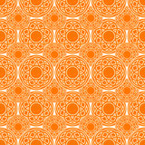 Ethnic circles orange  seamless pattern. Royalty Free Stock Photos