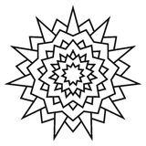 Ethnic circular symmetrical pattern. Black and white mandala for coloring. Royalty Free Stock Image