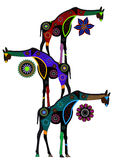 Ethnic circus. Giraffes in ethnic style with a white background Royalty Free Stock Images