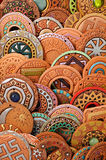 Ethnic Clay Beaded Jewelry. Ethnic beaded jewelry made of clay with ornaments belonging to various cultures stock images