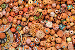 Ethnic Clay Beaded Jewelry. Ethnic beaded jewelry made of clay with ornaments belonging to various cultures royalty free stock photo