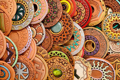 Ethnic Clay Beading Jewelry. Ethnic beaded jewelry made of clay with ornaments belonging to various cultures Stock Photo