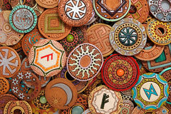 Ethnic Clay Beading Jewelry. Ethnic beaded jewelry made of clay with ornaments belonging to various cultures stock image