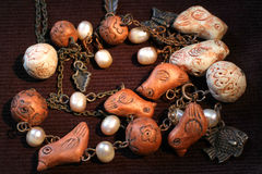 Ethnic clay and pearl necklace Royalty Free Stock Images