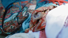 Ethnic clothes. Close up stock footage