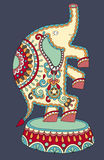 Ethnic colored drawing of circus theme - elephant Stock Image