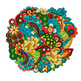 Ethnic colored floral circular pattern vector Stock Photo