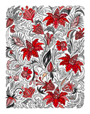 Ethnic colored floral zentangle, doodle background pattern rectangle  Stock Photo