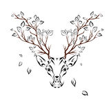 Ethnic colored head of deer with branches on the horns. totem / tattoo design. Use for print, posters, t-shirts. Vector illustrati Royalty Free Stock Image