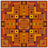 Ethnic colorful abstract design decorative geometric tribal pattern frame ornament background vector illustration Royalty Free Stock Images