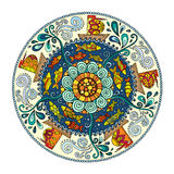 Ethnic colorful mandala with ornament, fishes, waves, wind and ships. Stock Images