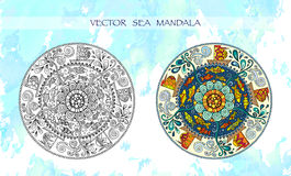 Ethnic colorful mandalas with ornament, fishes, waves, wind and ships. Stock Image