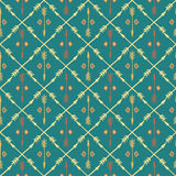 Ethnic colorful seamless pattern with arrows. Hand Stock Image