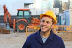 Ethnic construction worker with copy space royalty free stock image