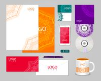 Ethnic corporate identity template with ornament Royalty Free Stock Photo