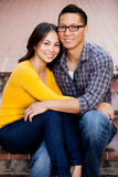 Ethnic couple. Ethnic young couple smiling and happy royalty free stock photography