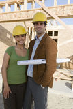 Ethnic Couple At Construction Site Stock Photography