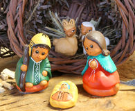 Ethnic crib of Latin America with baby Jesus and the holy family Stock Image