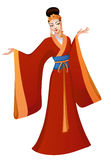 Ethnic dance of cartoon Chinese princess Stock Images