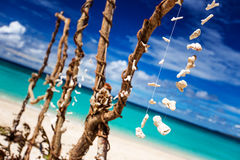 Ethnic decor on white tropical beach. On Boracay island, Philippines Stock Images