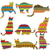 Ethnic decorative patterned cats Royalty Free Stock Image