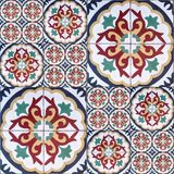 Ethnic decorative seamless pattern of red tiles with white ornaments that connect perfectly Stock Photo