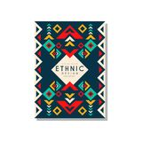 Ethnic design abstrat, colorful ethno tribal geometric ornament, trendy pattern element for business card, logo. Invitation, flyer, poster, banner vector Stock Images