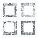 Ethnic design decorative geometric frames set ornament vector illustration Royalty Free Stock Images