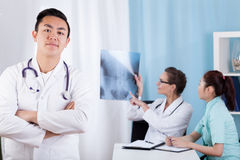 Ethnic diversity medical team stock images