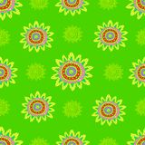 Ethnic doodle abstract flowers seamless pattern. Psychedelic cartoon style. Vector hand drawn floral sunny african motifs background Stock Photos