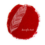 Ethnic doodle feather on a watercolor circle Stock Photography