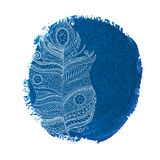 Ethnic doodle feather on a watercolor circle Royalty Free Stock Images