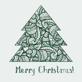 Ethnic doodle fir tree Royalty Free Stock Images