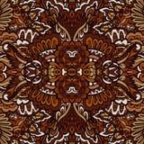 Ethnic doodle seamless boho geometric pattern design surface. Tribal doodle vintage flower ethnic seamless vector design. Brown damask ikat pattern best for vector illustration