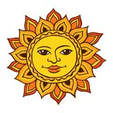 Ethnic drawing of the sun. Vector color sketch of a stylized sun with a female face. Ancient symbol of life. The pagan goddess is the universe. Hand drawn vector illustration