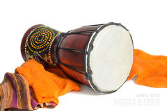 Ethnic drum isolated on white background. Ethnic drum isolated on a white Royalty Free Stock Photography