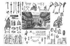 Ethnic elements of the peoples of Assyrians. These images are public domain. Brockhaus, Friedrich Arnold 1772-1823.Encyclopedic dictionary / under the Royalty Free Stock Images