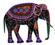 Ethnic elephant. Elephant from different elements in the ethnic style on a white background Royalty Free Stock Photo