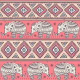 Ethnic elephant seamless Royalty Free Stock Images