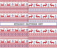 Ethnic emproidery patterns with deers and geese Stock Photography