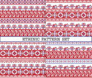Ethnic emproidery patterns with trees and houses Stock Photos