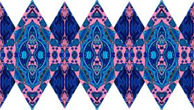 Ethnic endless patchwork pattern from ornamental rhombuses with flowers and paisley. Royalty Free Stock Images