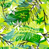 Ethnic exotic batik tropical seamless pattern. Abstract coroful. Summer time decoration, collage tropical palm leaves hearts flowers brush stroke ornament. Hand vector illustration