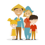 Ethnic family father Chinese, mother European. Ethnic family father Chinese, mother European, vector illustration Royalty Free Stock Photography