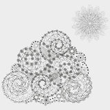 Ethnic fantasy flowers pattern. Figure handmade abstract author curls a triangle point snowflake sun wave contour line of the mountain flora petal asymmetrical Royalty Free Stock Photography