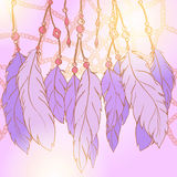 Ethnic feather bead dream catcher background vector Stock Images
